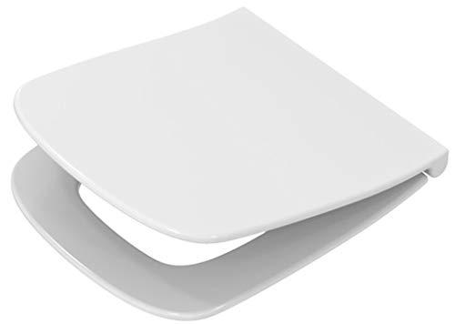 Toilettendeckel / WC - Sitz Renova Nr. 1 Plan   mit Deckel, verchromte Scharniere aus Messing, mit Absenkautomatik   Material: Duroplast, Form: gerade Deckelform, Breite: 367 mm, Tiefe: 447 mm