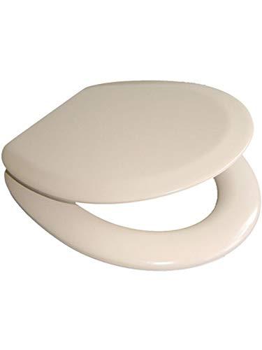 VCM Soft WC Klo Sitz Toilettendeckel Deckel Brille Klobrille Gepolstert Premium - Verstellbare Edelstahlscharniere beige