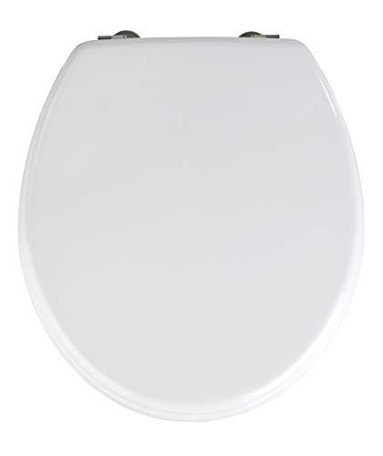 Wenko 152004100 WC-Sitz Prima Weiß - Spülkasten geeignet, rostfreie Edelstahlbefestigung, MDF, 38 x 41 cm