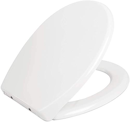 Homfa WC Sitz Toilettensitz O-Form Klodeckel mit Quick-Release-Funktion Absenkautomatik und Justierbaren Edelstahlscharnier Antibakterielle Klobrille Duroplast Toilettendeckel (445 * 368 * 53mm)