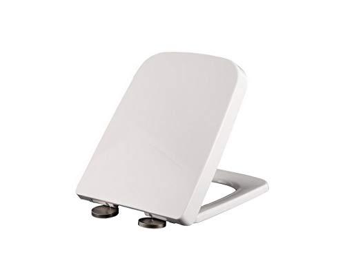AOOPOO Toilettendeckel WC Sitz eckig mit Absenkautomatik Soft Close WC Deckel aus hochwertiges Duroplast und Edelstahl Klobrille Klodeckel abnehmbar