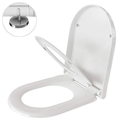 WC Sitz Toilettendeckel Toilettensitz Klodeckel für Kinder und Family mit Absenkautomatik/Softclose, weiß, aus Duroplast, D Form, abnehmbar, antibakteriell, Rostfreie Edelstahl Befestigung - Alicante