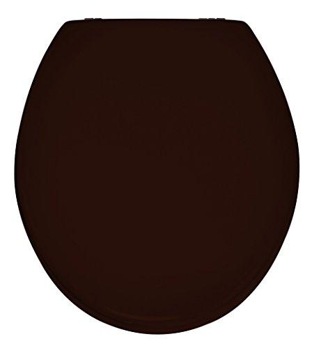 WENKO 21409100 WC-Sitz Prima Braun - Spülkasten geeignet, rostfreie Edelstahlbefestigung, MDF, 38 x 41.5 cm, Braun