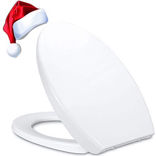 Qisiewell WC Sitz Cremeweiß Nicht Vergilben Harnstoff-Formaldehyd-Material Absenkautomatik WC Deckel der Innovative PremiumToilettendeckel Kratzfest Keine Verfärbung für 5-10 Jahre O-Form Klodeckel
