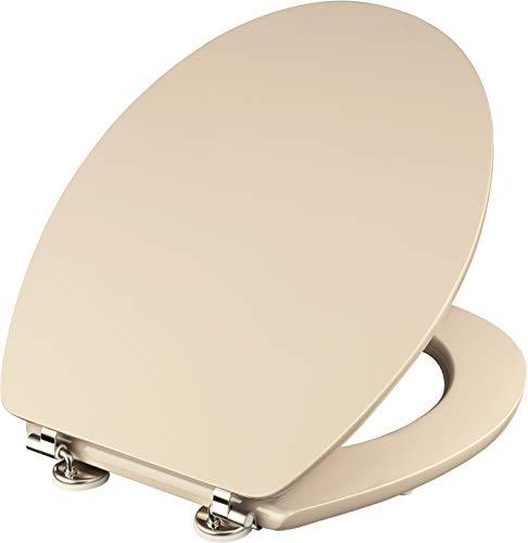 Cornat WC-Sitz Telo - Schlichter Look in beige - Hochwertiger Holzkern - Komfortables Sitzgefühl - Unifarbenes Design passt in jedes Badezimmer / Toilettensitz / Klodeckel / KSTEL17