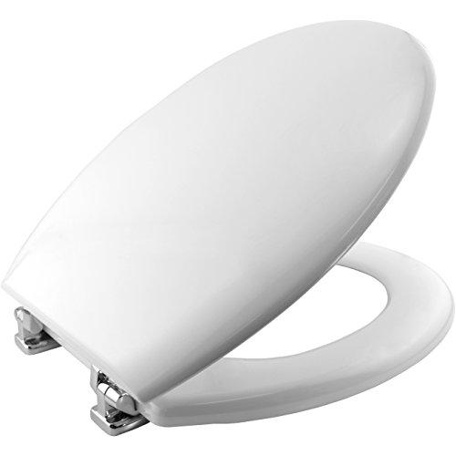 Bemis 4100CP000 NEW YORK Formholz WC-Sitz mit verchromten Scharnieren Weiß