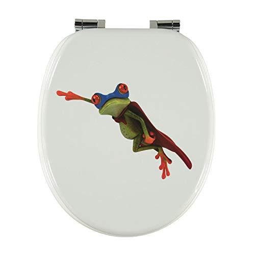 Toilettendeckel Design MDF-Holz WC-Sitz mit Absenkautomatik und verzinkten Scharnieren - Klodeckel WC-Brille Klobrille (Super Frosch)