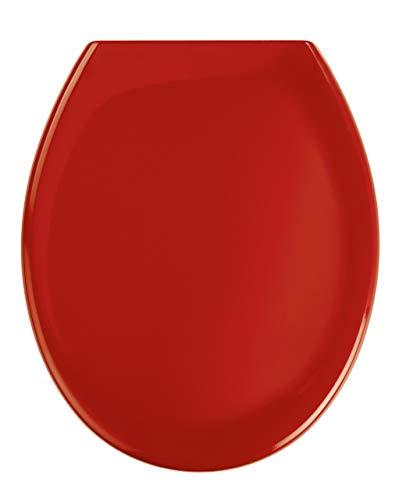 WENKO 19659100 Premium WC-Sitz Ottana Rot - Absenkautomatik, rostfreie Fix-Clip Hygiene Edelstahlbefestigung, antibakteriell, Kunststoff - Duroplast, 37.6 x 45.2 cm, Rot
