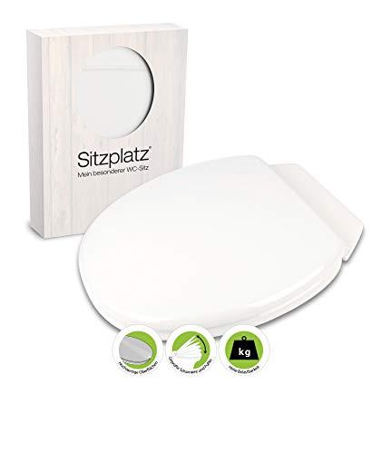 SITZPLATZ - 21818 4 - WC-Sitz Rimini II in Weiß - Toilettensitz mit Holz-Kern & Rückbrett & Kunststoff-Scharnier