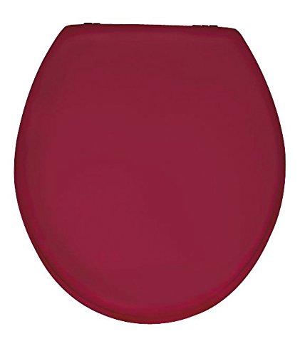 Wenko 152201100 WC-Sitz Prima Bordeaux - Spülkasten geeignet, rostfreie Edelstahlbefestigung, MDF, 38 x 41 cm