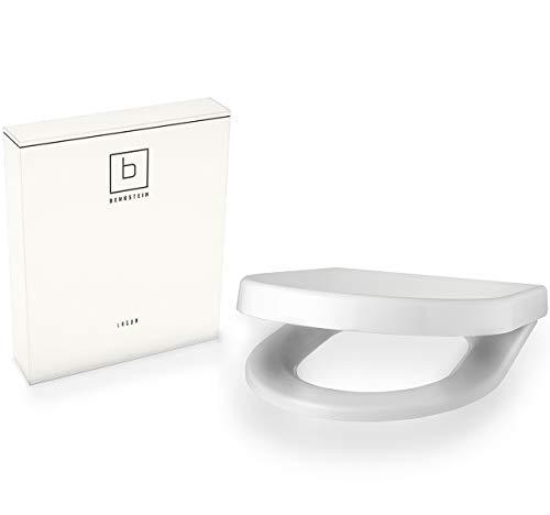 Benkstein Premium Toilettendeckel D-Form Klodeckel mit Quick-Release-Funktion und Softclose Absenkautomatik. Antibakterielle Klobrille aus Duroplast rostfreiem Edelstahl abnehmbar WC-Brille WC-Deckel