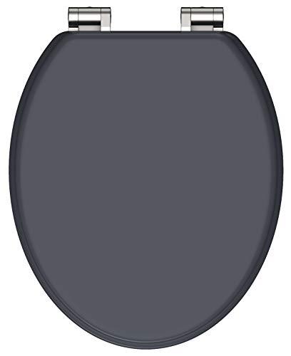 SCHÜTTE 80104 MDF-Holzkern WC-Sitz SPIRIT ANTHRAZIT mit Absenkautomatik,