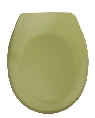 WENKO 19514100 WC-Sitz Bergamo Moosgrün - rostfreie Edelstahlbefestigung, Kunststoff - Duroplast, 37.2 x 44.4 cm, Moosgrün