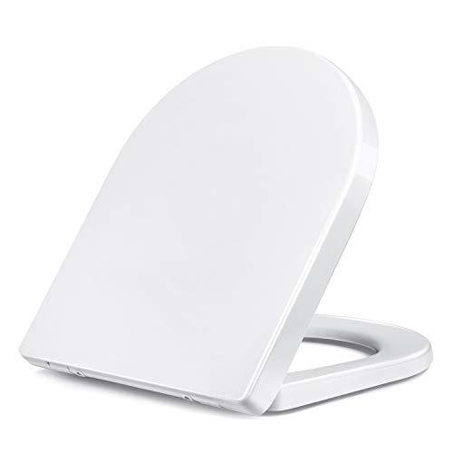 Amzdeal WC Sitz mit Absenkautomatik, Toilettendeckel WC Deckel Duroplast Klodeckel, Toilettensitz mit langsamer Absenkung und Soft-Close Funktion/U-Form Duroplast