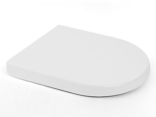 AQUA BAGNO WC-Sitz ZERO weiß D-FORM universell - hochwertiges Duroplast mit Softclose Mechanismus - abnehmbar - einfache Reinigung/easyclean - Deckel überlappend/Toilettendeckel - Klobrille