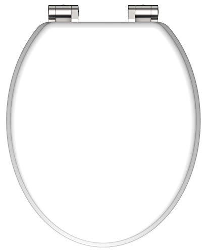SCHÜTTE 80101 MDF-Holzkern WC-Sitz SPIRIT White mit Absenkautomatik, Weiß