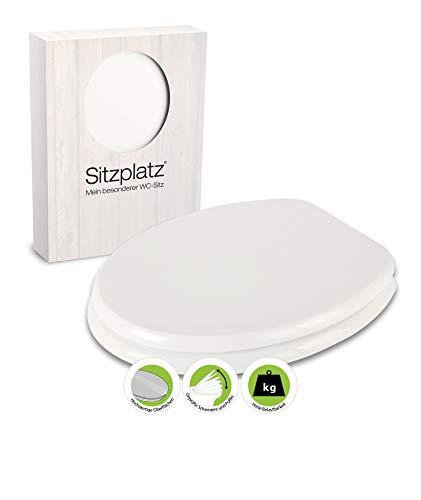 SITZPLATZ - 40068 8 - WC-Sitz Bingo in Weiß - Toilettensitz mit Holz-Kern & Edelstahl-Scharnier