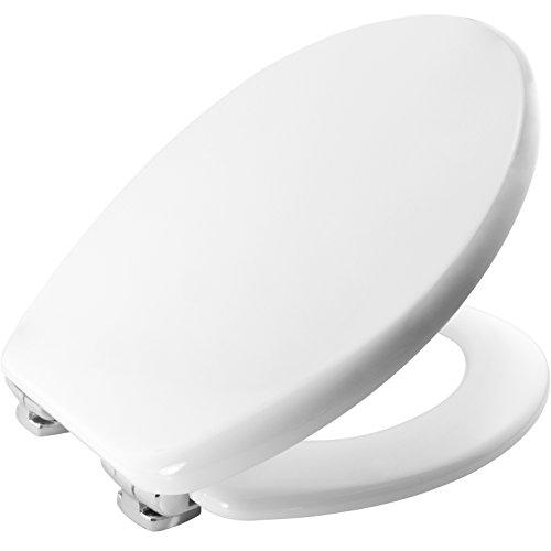 Bemis 4404CLT000 ORLEANS Formholz WC-Sitz mit STA-TITE Fixierungssystem und verchromten Scharnieren mit Absenkautomatik Weiß