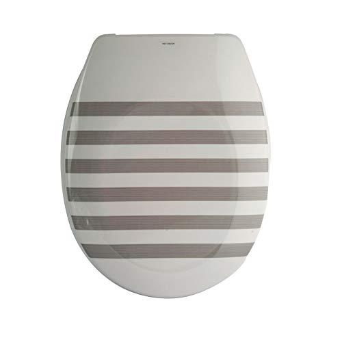 """MSV Design WC Sitz, Absenkautomatik, Fast Fix/Schnellbefestigung, Befestigung mit Knopfdruck, Toilettensitz WC Deckel Klobrille""""Seauville"""" Grau/Weiß"""