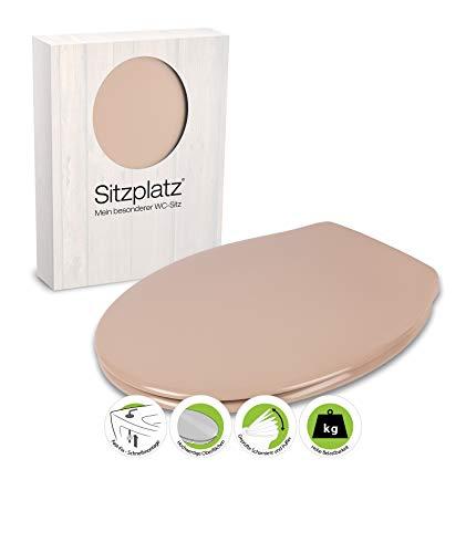 SITZPLATZ - 21514 5 - WC-Sitz Siena in Karamel - Hochwertiger Toilettensitz aus Duroplast mit Edelstahl-Scharnier & Fast-Fix Schnellbefestigung