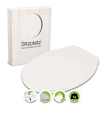 WC-Sitz Siena weiß | Toilettensitz | WC-Brille aus Duroplast-Kunststoff | Edelstahl-Scharnier | Klobrille mit Fast-Fix-Schnellbefestigung | Toilettendeckel   Klodeckel