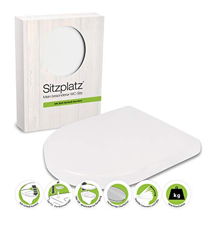 SITZPLATZ - 40131 9 - WC Sitz Deluxe in Weiß - Toilettensitz aus Duroplast - WC Brille mit Absenkautomatik - Toilettendeckel mit Top-Fix & Take-Off