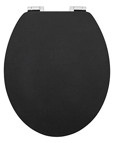 SANWOOD MDF WC-Sitz SCHWARZ Matter Oberfläche, Reversed-Edge-Form, Toilettensitz mit Absenkautomatik Soft Close, Holz 45 x 37 x 6 cm