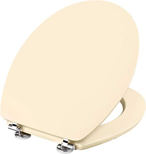 Cornat WC-Sitz Telo - Schlichter Look in pergamon - Hochwertiger Holzkern - Komfortables Sitzgefühl - Unifarbenes Design passt in jedes Badezimmer / Toilettensitz / Klodeckel / KSTEL23