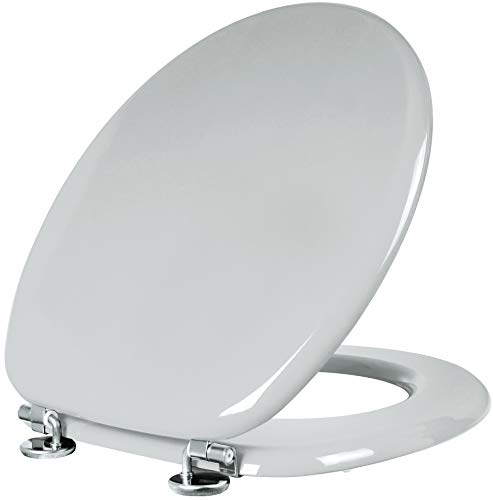 Cornat WC-Sitz Modena - Schlichter Look in manhattangrau - Hochwertiger Holzkern - Komfortables Sitzgefühl - Unifarbenes Design passt in jedes Badezimmer / Toilettensitz / Klodeckel / KSH22
