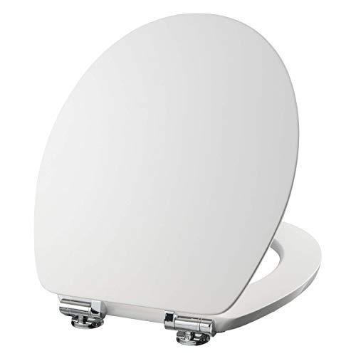 VILSTEIN WC Sitz mit Absenkautomatik, Antibakteriell, Stabile Metall-Scharniere verchromt und rostfrei, hochwertige und stabile Qualität aus MDF Holz, WC Deckel, Hochglanz weiß