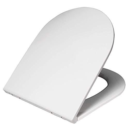 WOLTU WS2722-a Premium WC-Sitz Weiß, Toilettensitz mit Absenkautomatik, rostfreier Fix-Clip Edelstahlbefestigung, Duroplast, antibakteriell