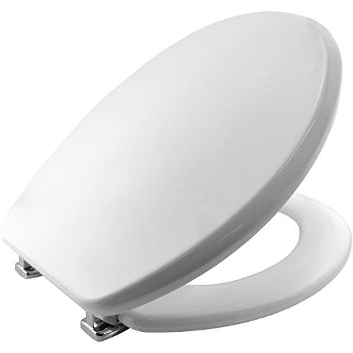 Bemis 4402CP000 MEMPHIS Formholz WC-Sitz mit verchromten Scharnieren Weiß