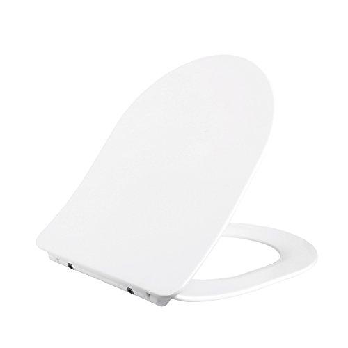 HOMFA WC Sitz mit der Softclose-Funktion Toilettendeckel Absenkautomatik Antibakteriell mit Duroplast Toilettensitz Weiß D-Form (dünn)