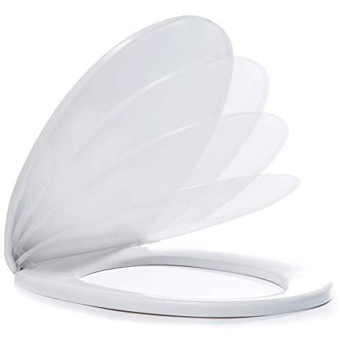 WC Sitz mit Absenkautomatik Toilettendeckel Weiß | Geräuschlos - Robust | Leichte Montage