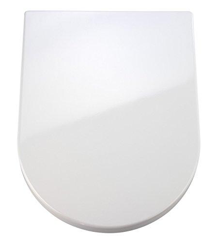 Wenko 18396100 Premium WC-Sitz Palma - Absenkautomatik, rostfreie Fix-Clip Hygiene Edelstahlbefestigung, antibakteriell, Duroplast, 35.7 x 46.5 cm, weiß