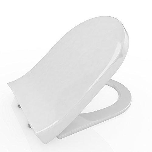 Ncient Toilettendeckel WC-Sitz U-Form Toilettensitz mit Absenkautomatik Duroplast, Softclose Scharnier, Antibakteriell, weiß