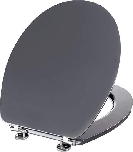 Cornat WC-Sitz Telo - Schlichter Look in grau - Hochwertiger Holzkern - Komfortables Sitzgefühl - Unifarbenes Design passt in jedes Badezimmer / Toilettensitz / Klodeckel / KSTEL56