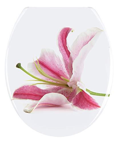 Wenko WC-Sitz Orchid rostfreie Edelstahlbefestigung, Duroplast, Mehrfarbig, 45 x 38 x 4 cm