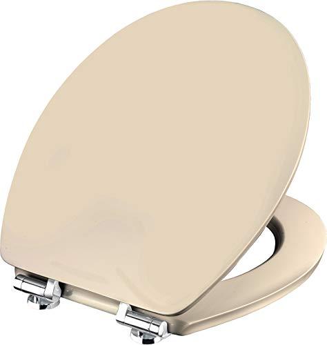Cornat WC-Sitz Vale - Schlichter Look in beige - Hochwertiger Holzkern - Absenkautomatik & Schnellbefestigung - Komfortables Sitzgefühl / Toilettensitz / Klodeckel / KSVSC17