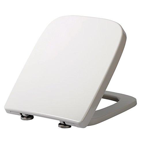 WOLTU WS2615 WC Sitz Toilettensitz mit Absenkautomatik, Fast Fix/Schnellbefestigung, Duroplast, Softclose, Antibakterielle Beschichtung, Weiss