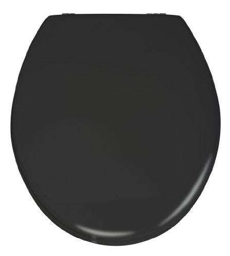 Wenko 20077100 WC-Sitz Prima Schwarz Matt - Spülkasten geeignet, rostfreie Edelstahlbefestigung, MDF, 38 x 41 cm