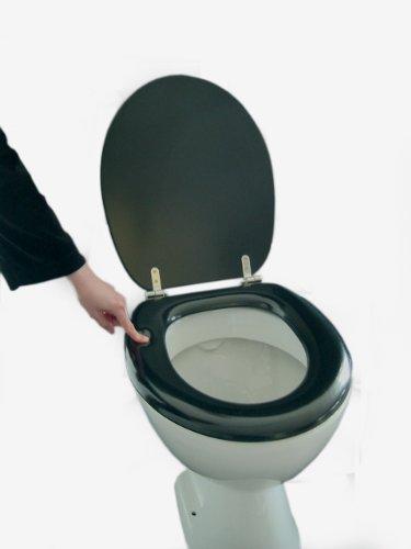 ADOB Polsi Soft WC Sitz gepolstert mit Edelstahlscharnieren, schwarz,69501