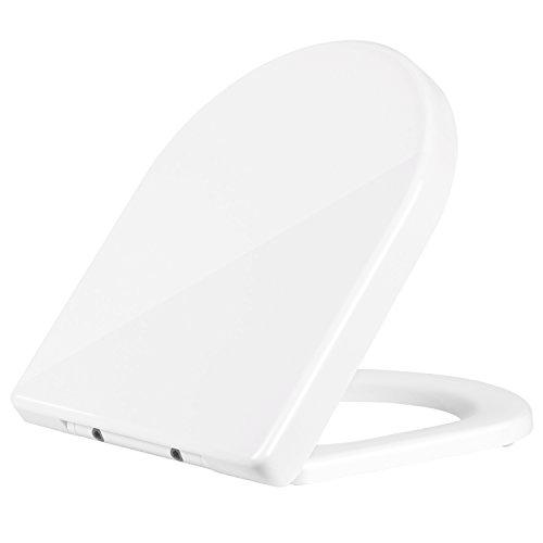 HOMFA WC Sitz mit Absenkautomatik Toilettendeckel Duroplast Toilettensitz mit der Softclose-Funktion Antibakteriell Weiß D-Form (dick)