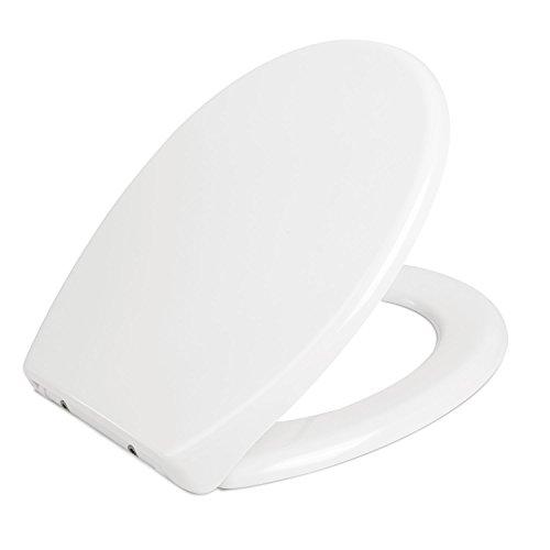 HOMFA WC Sitz mit Absenkautomatik Toilettendeckel Duroplast Quick-Release Abnehmbar Easyclean Edelstahl Scharniere Antibakteriell Weiß Toilettensitz