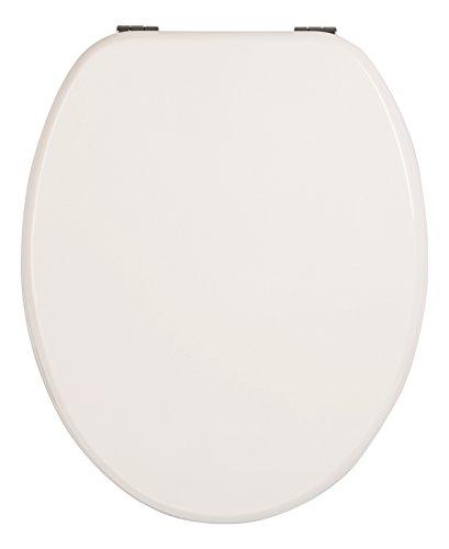 WC-Sitz Venezia weiß | Toilettensitz | WC-Brille aus Holz | Mit Active-Clean-Beschichtung | Klodeckel mit Metall-Scharnier | Toilettendeckel