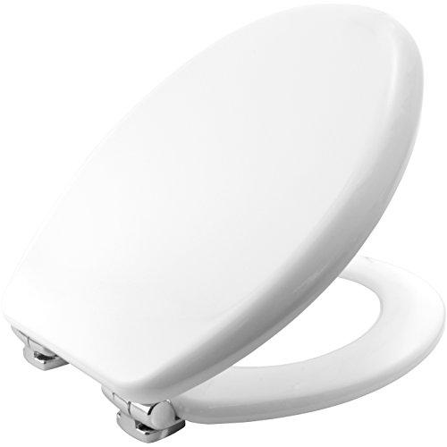 Bemis 4403CLT000 VEGAS Formholz WC-Sitz mit STA-TITE Fixierungssystem und verchromten Scharnieren mit Absenkautomatik Weiß