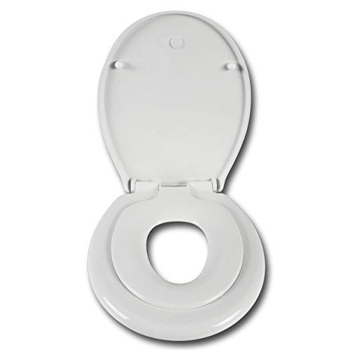 WOLTU WS2584 WC Deckel mit Absenkautomatik, Mit integriertem Kindersitz, Magnet-Anschluss, Antibakteriell, Weiß