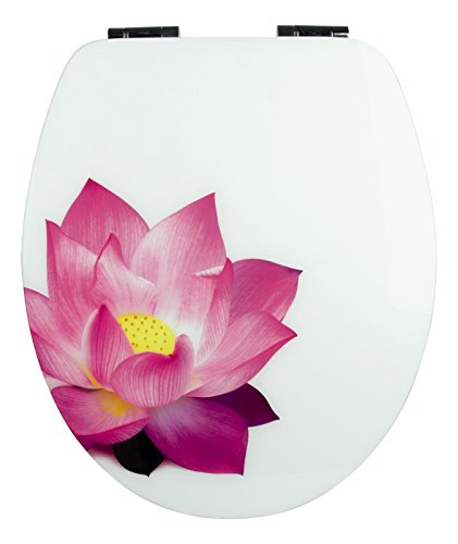 WC-Sitz High Gloss Dekor Seerose   Toilettensitz   WC-Brille aus Holz   Soft-Close-Absenkautomatik   Metall-Scharnier   Fast-Fix-Schnellbefestigung