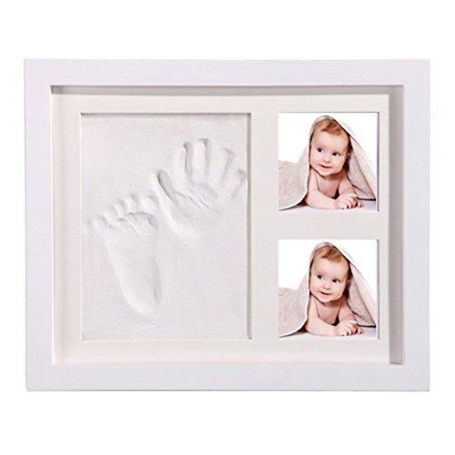 StillCool Baby Handabdruck und Fußabdruck DIY Bilderrahmen Babyparty Geschenk sicheren elegantem Weiß aus Echtholz