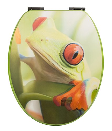 WC-Sitz Dekor Frosch 3-D mit Soft-Schließ-Komfort und Fast Fix